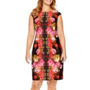 London Style Collection Cap-Sleeve Floral Print Scuba Sheath Dress - Plus