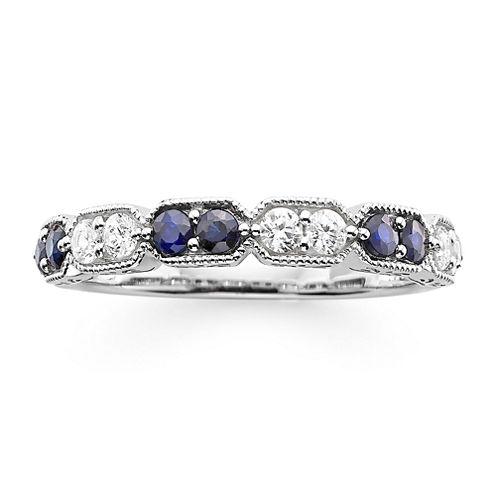 I Said Yes™ 1/4 CT. T.W. Diamond and Lab-Created Blue Sapphire Wedding Band