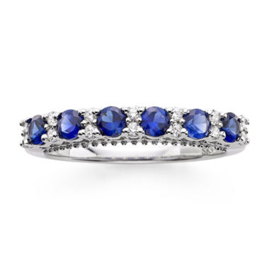 jcpenney.com | I Said Yes™ 1/7 CT. T.W. Diamond and Lab-Created Blue Sapphire 9mm Wedding Band