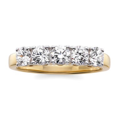 jcpenney.com | 1 CT. T.W. Diamond 10K Yellow Gold 5-Stone Wedding Band