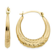 14K Yellow Gold 18.95mm Wheat Hoop Earrings