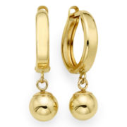14K Yellow Gold 22.4mm Hinged Hoop w/Ball Drop Earrings
