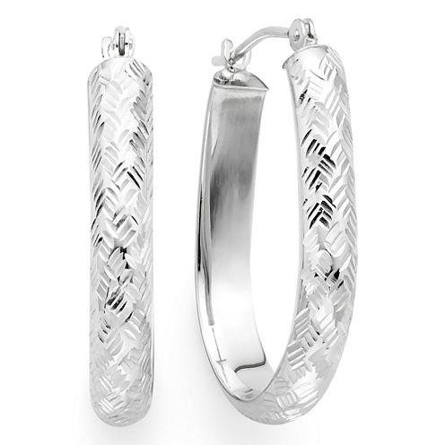 Diamond-Cut 14K White Gold 24mm Pear-Shaped Hoop Earrings