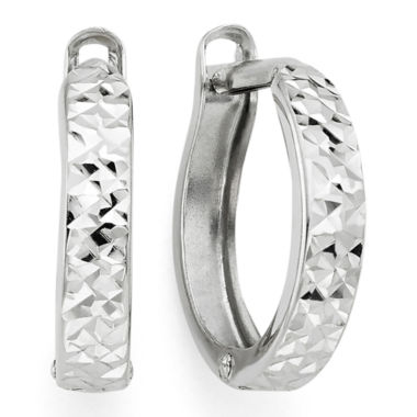 jcpenney.com | Diamond-Cut 14K White Gold Hinged Hoop Earrings