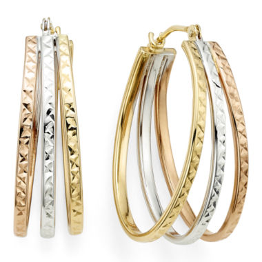 jcpenney.com | Diamond-Cut Tri-Color 14K Gold Triple-Fan Hoop Earrings