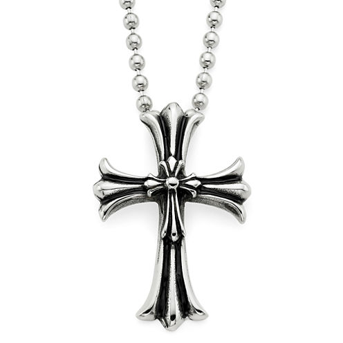 Mens Oxidized Stainless Steel Cross Pendant Necklace