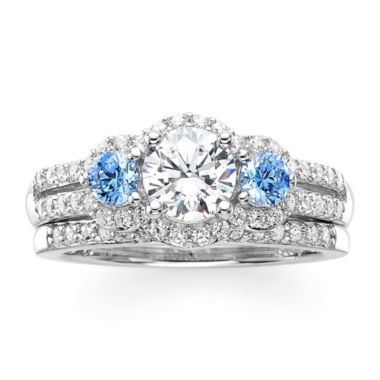 jcpenney.com | DiamonArt® White and Blue Cubic Zirconia Sterling Silver 3-Stone Bridal Ring Set