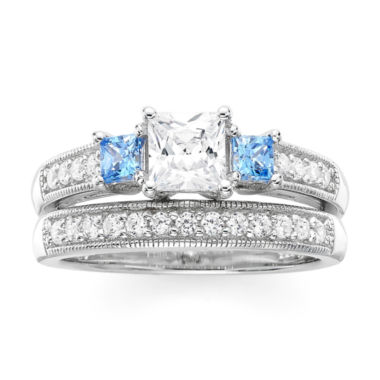 jcpenney.com | DiamonArt® White and Blue Cubic Zirconia Sterling Silver 3-Stone Princess-Cut Bridal Ring Set