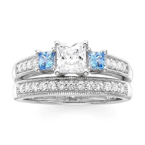 DiamonArt® White and Blue Cubic Zirconia Sterling Silver 3-Stone Princess-Cut Bridal Ring Set