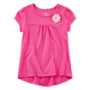 Okie Dokie® High-Low Flower Tee - Toddler Girls 2t-5t