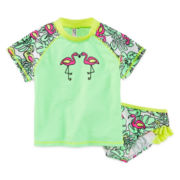 Breaking Waves Flamingo Rash Guard Set - Toddler Girls 2t-5t
