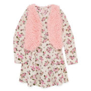 Knit Works Floral Dress, Faux-Fur Vest and Necklace - Girls 7-16