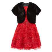 Knit Works® Belted Dress & Faux-Fur Cardigan - Girls 7-16 and Plus