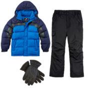 Vertical 9 Puffer Jacket, Snow pants, Ski Gloves or Hanes Thermal Set - Boys 8-20