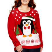 Ransom Long-Sleeve Holiday Sweater - Juniors Plus
