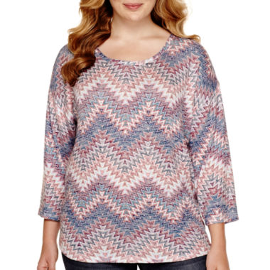 jcpenney.com | Almost Famous 3/4-Sleeve Hatchi Top - Juniors Plus