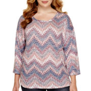 Almost Famous 3/4-Sleeve Hatchi Top - Juniors Plus