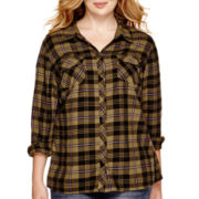 Arizona Long-Sleeve Sequin Plaid Shirt - Plus