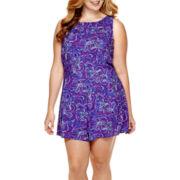 Arizona Sleeveless Lace-Back Romper - Plus