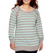 Arizona Long-Sleeve Striped Tunic Sweatshirt - Plus