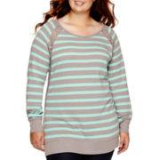 Arizona Long-Sleeve Striped Tunic Sweatshirt - Juniors Plus