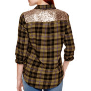 Arizona Long-Sleeve Sequin Plaid Shirt  - Juniors