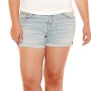 Arizona Roll-Cuff Denim Shorts - Plus