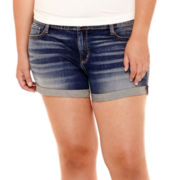 Arizona Roll-Cuff Denim Shorts - Plus