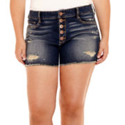 Arizona High-Rise Raw-Hem Denim Shorts - Juniors Plus