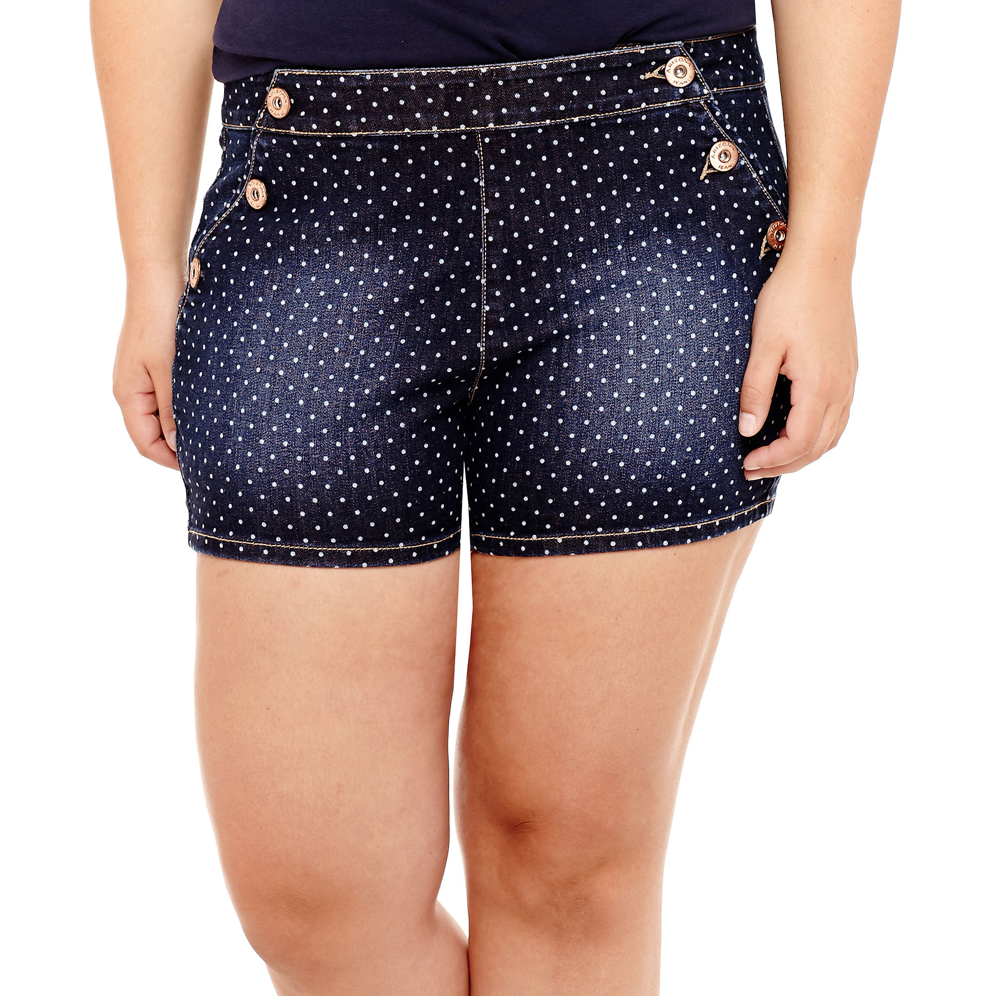 Arizona Dot High-Rise Denim Shorts - Juniors Plus plus size,  plus size fashion plus size appare