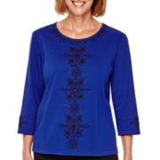 Alfred Dunner® Madrid 3/4-Sleeve Embroidered Top