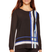 Liz Claiborne® Long-Sleeve Print Blouse