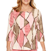 Alfred Dunner® Lake Zurich 3/4-Sleeve Print Top