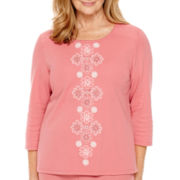 Alfred Dunner® Lake Zurich 3/4-Sleeve Appliqué Top