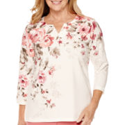Alfred Dunner® Lake Zurich 3/4-Sleeve Print-Yoke Top