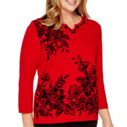 Alfred Dunner® Madrid 3/4-Sleeve Floral Print Sweater