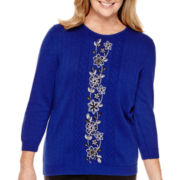 Alfred Dunner® Madrid 3/4-Sleeve Embroidered Sweater