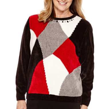 jcpenney.com | Alfred Dunner® Madrid Long-Sleeve Colorblock Chenille Sweater