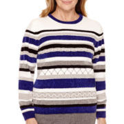 Alfred Dunner® Madrid Long-Sleeve Striped Chenille Sweater