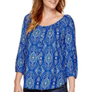 St. John's Bay® 3/4-Sleeve Henley Peasant Top