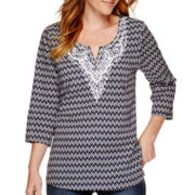 St. John's Bay® 3/4-Sleeve Embroidered Tunic Top - Tall