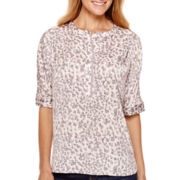 Liz Claiborne® Dolman-Sleeve Print Woven Top