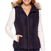 Liz Claiborne® Faux-Fur-Trimmed Hooded Vest - Tall