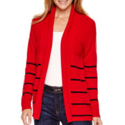 Liz Claiborne® Long-Sleeve Shawl-Collar Striped Cardigan