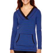 Liz Claiborne® Long-Sleeve Kangaroo-Pocket Striped Tunic