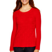Liz Claiborne® Long-Sleeve Shaker Stitch Sweater