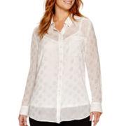 Liz Claiborne® Long-Sleeve Button-Front Tunic - Plus