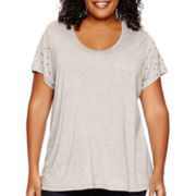 Liz Claiborne® Embellished-Sleeve T-Shirt - Plus