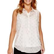 Liz Claiborne® Sleeveless Popover Top with Pockets - Plus