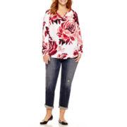 Liz Claiborne® V-Neck Popover Top or Boyfriend Jeans - Plus